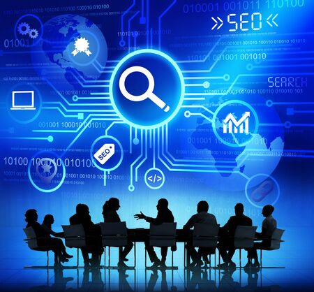 keywords advertise: Group of Business People Discussing SEO