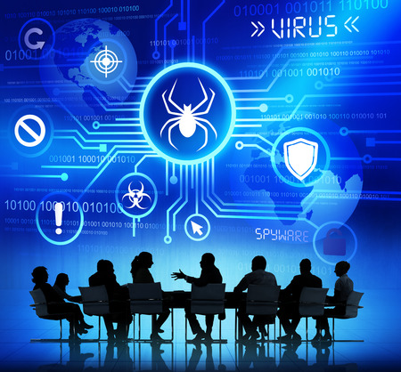 Group of Corporate People having a Meeting about Threat caused by Viruses photo