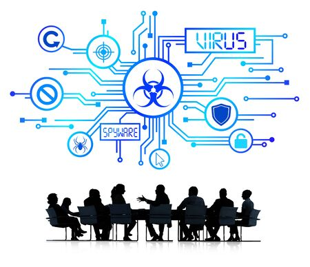 Group of Corporate People having a Meeting about Online Protection from Virus photo
