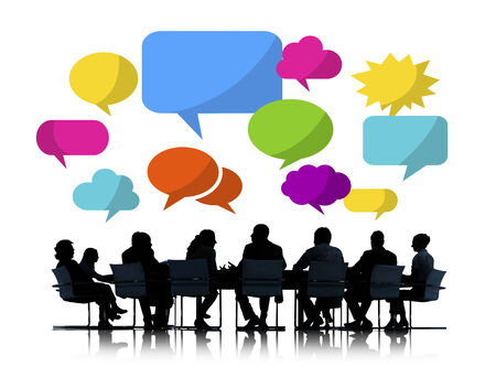 Silhouette of Business People Meeting with Speech Bubbles photo