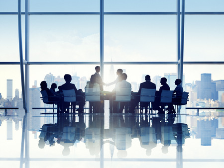 persons: Silhouette of Business Person in a Board Room