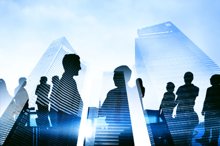 global partnership: Silhouette Group of Business People Meeting Concept Stock Photo