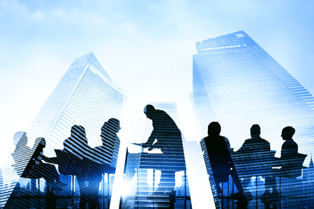 Silhouette Group of Business People Meeting Concept Stock Photo