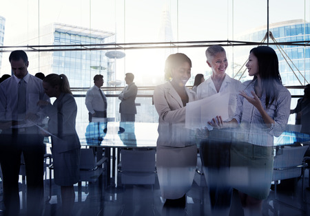 business scene: Silhouettes Of Multi-Ethnic Group Of Business People Working Together In A Board Room Stock Photo