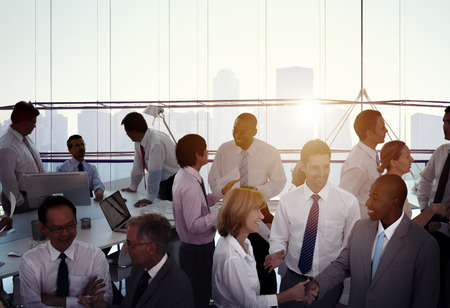 meeting people: Group of Multiethnic Diverse Busy Business People
