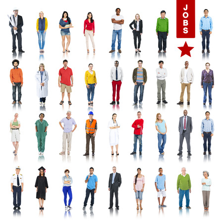 graduation suit: Multiethnic Group of Peoole in Various Jobs Concept Stock Photo