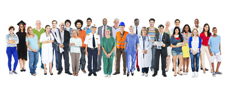 occupation: Group of Multiethnic Diverse Mixed Occupation People Stock Photo