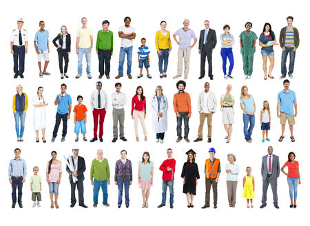 people in a row: Diversity Ethnicity Multi-Ethnic Variation Togetherness Unity Team Concept