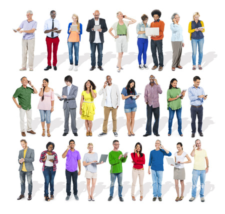 portable information device: Large Group of Diverse People Using Digital Devices