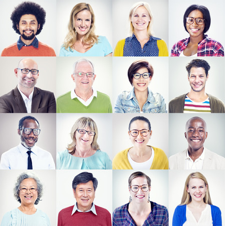 diversity people: Portrait of Multiethnic Diverse Colorful People Stock Photo