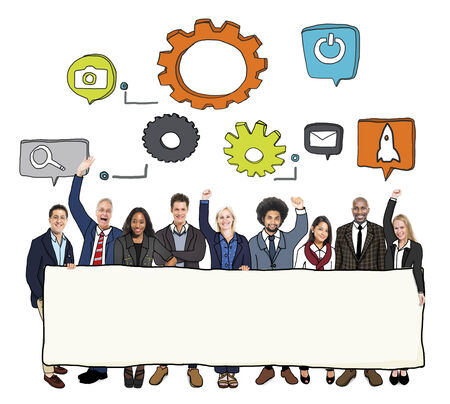 Cheerful Diverse Business People and Copy Space Stock Photo