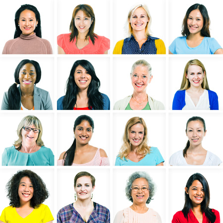다양한 여성과 여성의 전환점 만 스톡 콘텐츠