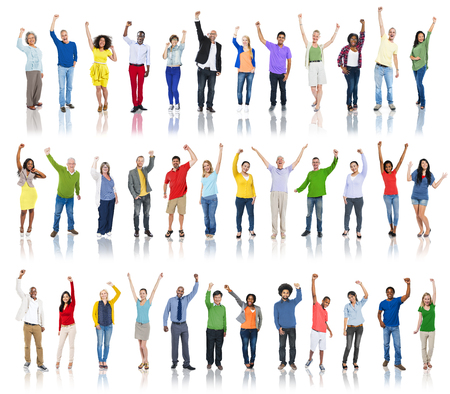 Group of Diverse People Hands Raised Celebrating Imagens
