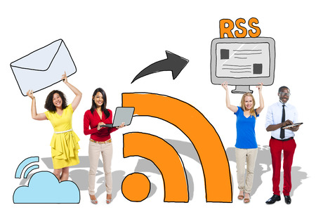 People and Social Networking and RSS Concept Stock Photo
