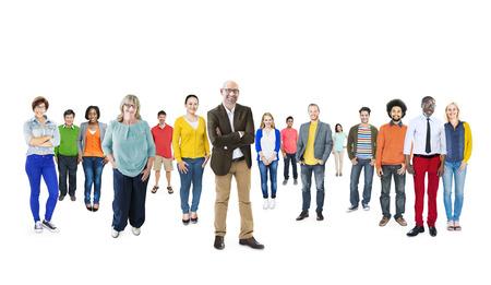 multitud gente: Grupo de multiétnicos gente diversa de colores Foto de archivo
