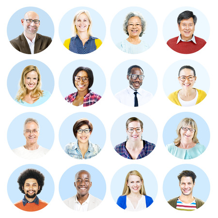 multiple ethnicities: Portrait of Diverse People and People Stock Photo