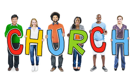 church: DIverse People Holding Text Church