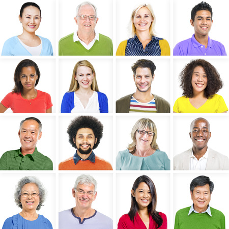 diverse people: Portrait of Multiethnic Colorful Diverse People