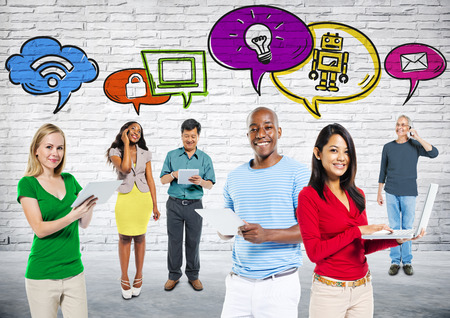 social communication: Multi-Ethnic Group People with Social Communication Stock Photo