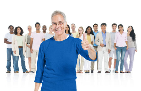 standing out from the crowd: Senior adult thump up and standing out from crowd