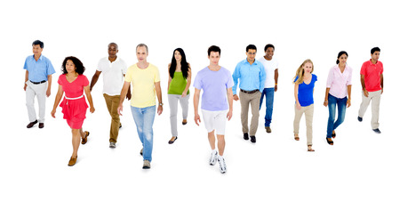 Progress concept - group of people walking forward