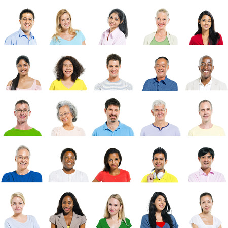 Multi-Ethnic Group Of People Expressing Positivity Banco de Imagens