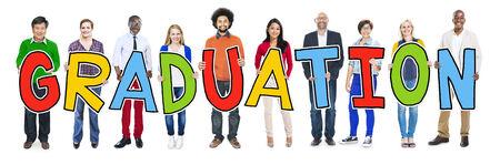 graduate asian: DIverse People Holding Text Graduation