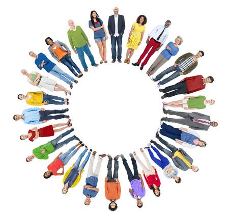 Grupo multiétnico de personas con Copyspace Foto de archivo - 35331031