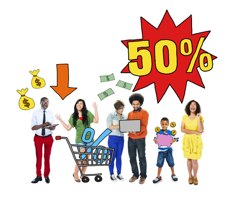 consumer society: Multi-Ethnic Group Of People and Sale Concepts