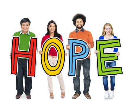 hopeful: Multiethnic Group of People Holding Letter with Hope Concept Stock Photo