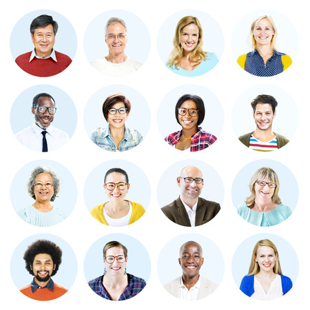 headshots: Headshots of Multi-Ethnic Group of People Isolated Stock Photo