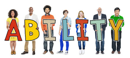skills diversity: DIverse People Holding Text Ability