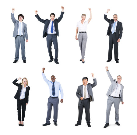 hands raised: Group of Business People Celebrating with their Hands Raised
