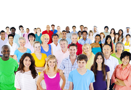 young adult men: Large Group of multi- ethnic people Stock Photo