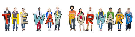 way forward: Diverse Group of People Holding Text The Way Forward