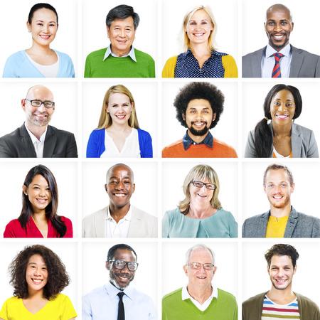 cabeza: Retrato de multi�tnicos coloridas Gente Diversos Foto de archivo