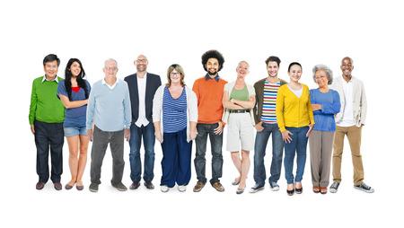 다민족 다양한 다채로운 사람들의 그룹