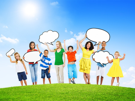 american media: Group of Multi-Ethnic Mixed Age People Holding Empty Speech Bubble