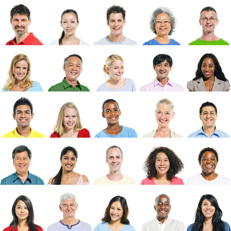 Portraits of multi-ethnical people smiling.
