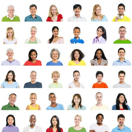 visage homme: Grand groupe de personnes diverses Banque d'images