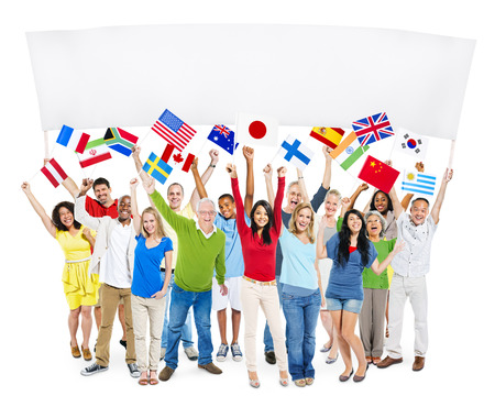 south asian ethnicity: Group Of Multi-Ethnic Group Of People Holding Blank Billboard And National Flags Stock Photo