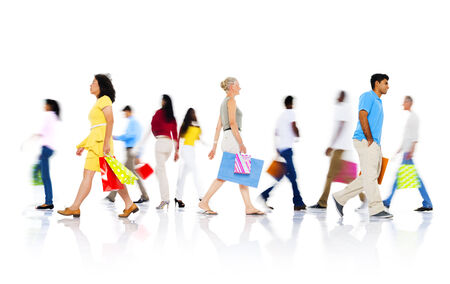 people walking white background: Diverse People Walking with Shopping Bag