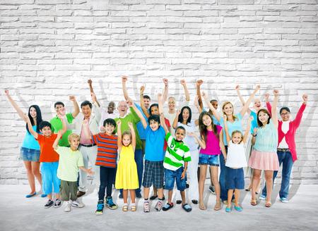 closed fist: Group of multi-ethnic people celebrating success.