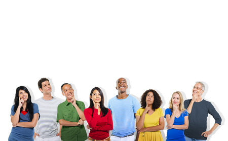 DIverse People Thinking and Copy Space