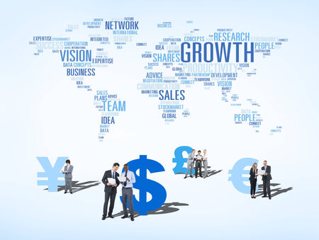 Group of Multi Ethnic Business People Discussing about Global Business Growth photo