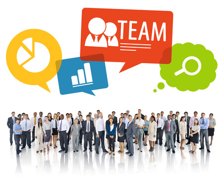 large group of business people: Large Group of Business People with Symbols