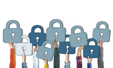 diverse group: Group of Diverse Peoples Hands Holding Padlocks Stock Photo