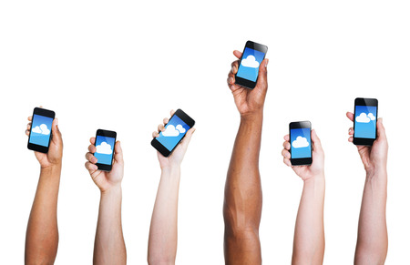 holding phone: Group of Hand Holding Digital Devices with Cloud Symbol