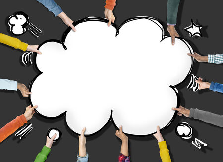 arms outstretched: Group of Hands Holding Speech Bubble Cloud Shape