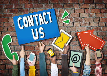 contact information: Hands Holding Digital Devices and Symbols Contact Us